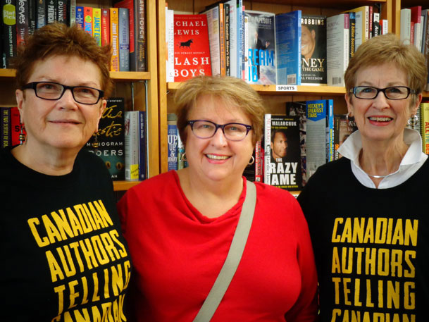 Peggy with Mia Woodburn, co-owner of Lighthouse Books in Brighton (left), and Beth Bruder (centre).