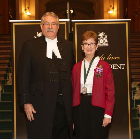 Speaker Dave Levac with 2013 Speaker's Book Award finalist Peggy Dymond Leavey (Author of Laura Secord - Heroine of the War of 1812 published by Dundurn Press)